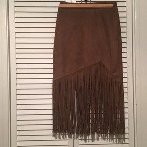 Faux sueded leather skirt